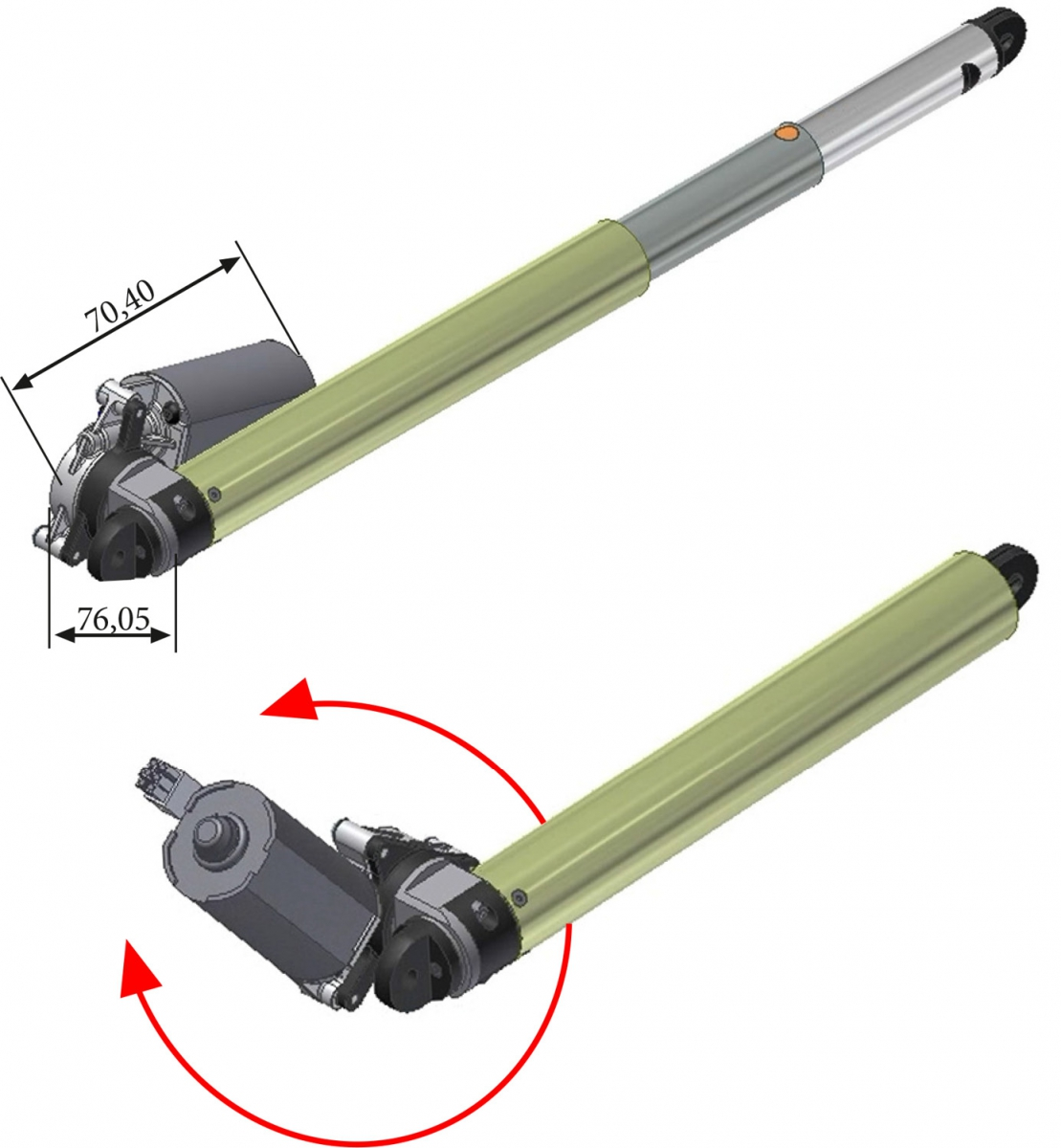 Double Stroke Telescopic Actuator